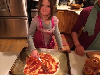 Tegan makes pizza