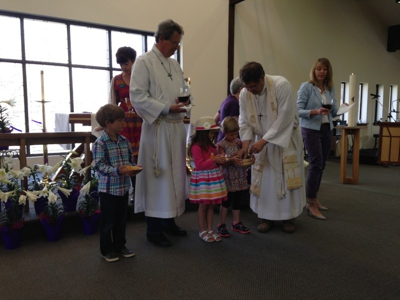 Helping with communion for the congretation