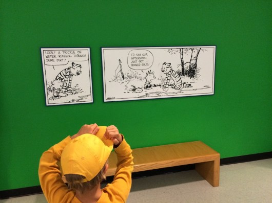 Calvin and Hobbs cartoon at the museum.