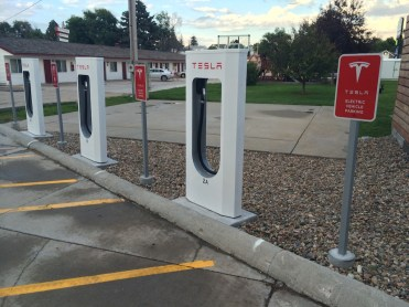A Tesla charging station in BFE Wyoming.