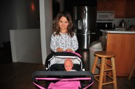 Tegan and baby in her new stroller