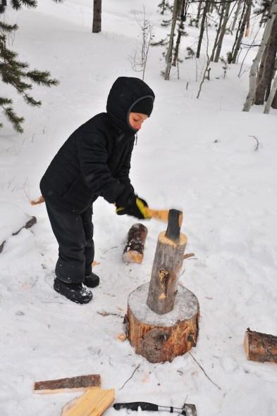 Tory choppin' the wood.