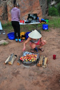 Kari grilling up kabobs
