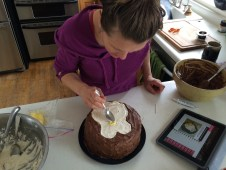 Kari whips up the penguin cake