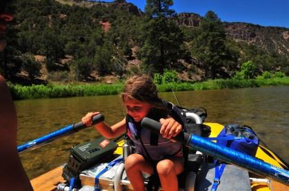 Tegan rows the boat