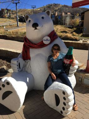 Kari and a gigantic bear. And a coke.