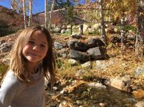 Tegan in Steamboat, by a little creek