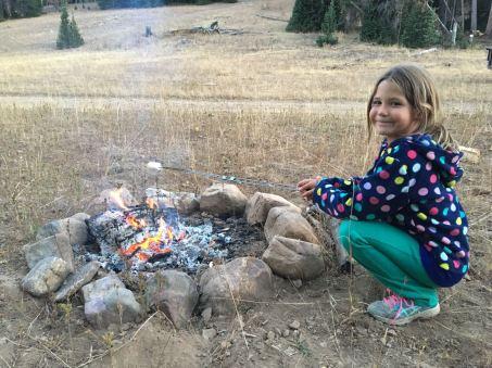 Tegan toasting a marshmallow