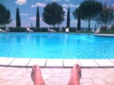 By the pool in Tuscany