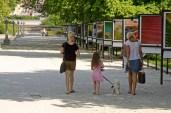 Gill, Jordan and Jean walking Poppie in Lubiana