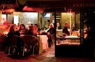 Jean having dinner in L'Osteria del Bigelli in late October