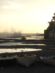 The wharf takes a beating