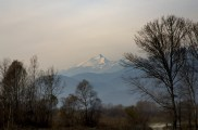 First glimpse of the mountains just north of Torino (Turin)