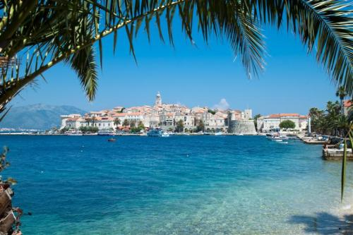 View over Korcula old city on the side of the bay, Croatia