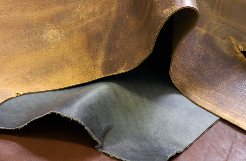 Different types of leather explained. Photo showing some full grain leathers