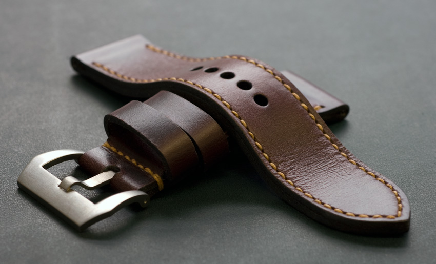 Burgundy leather handmade watch strap. Hand stitched by Toshi Straps