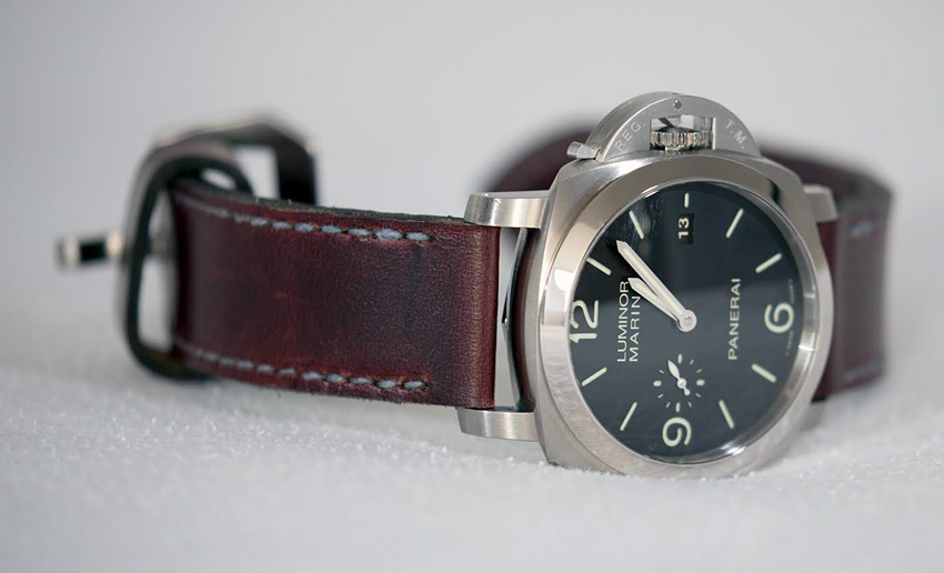 Panerai 312 on Burgundy leather with denim stitching. © Rick Phillips