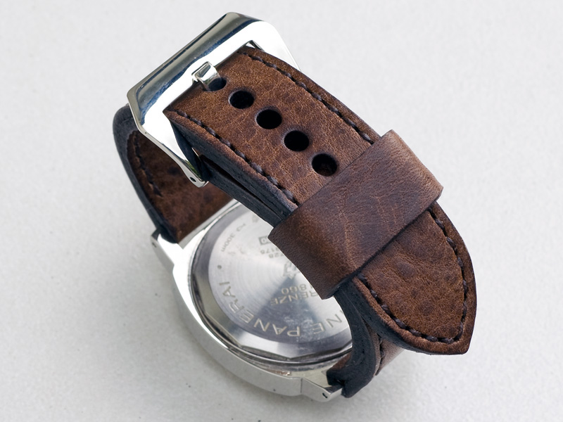 Horween Nut brown leather with dark brown stitching