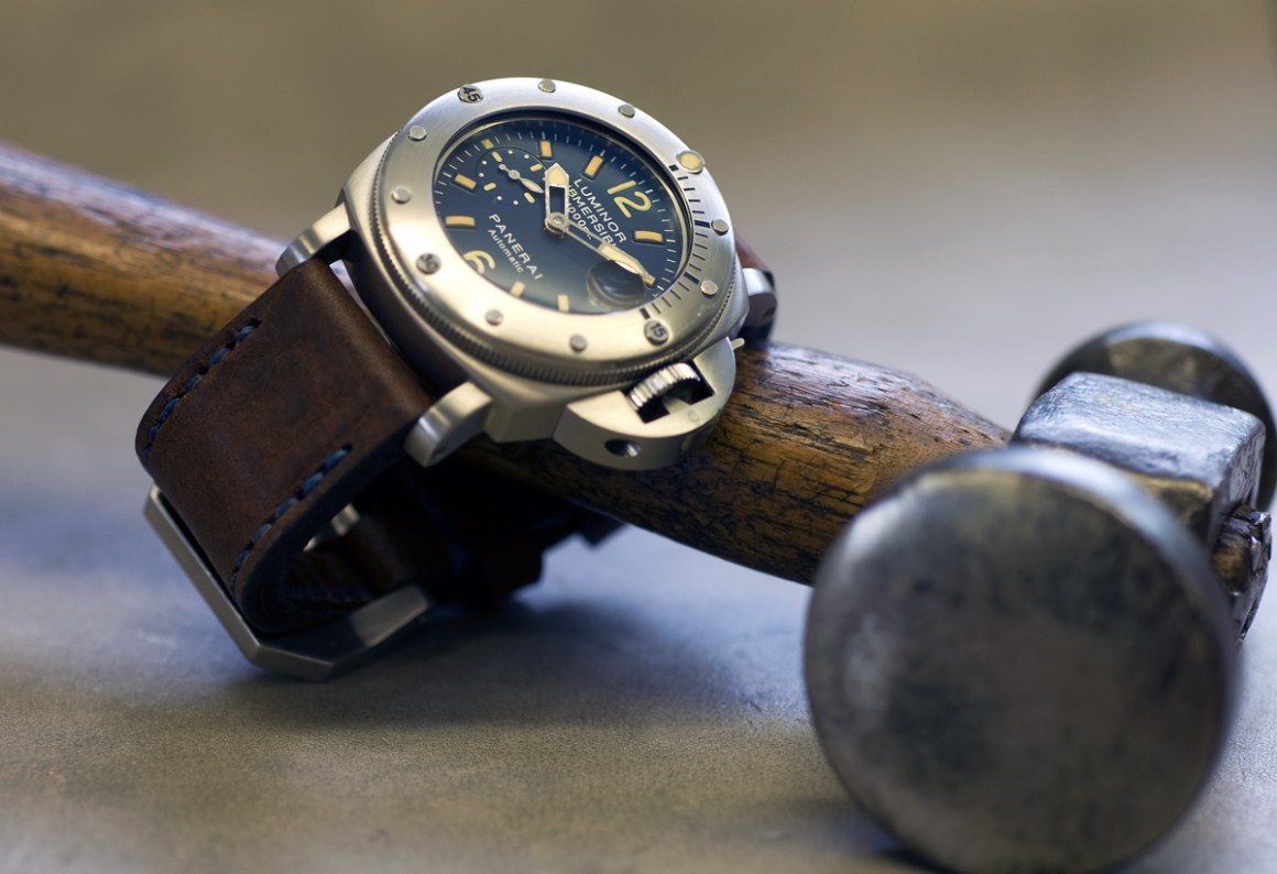 Horween Nut Brown strap with royal blue stitching, made for my Panerai 87