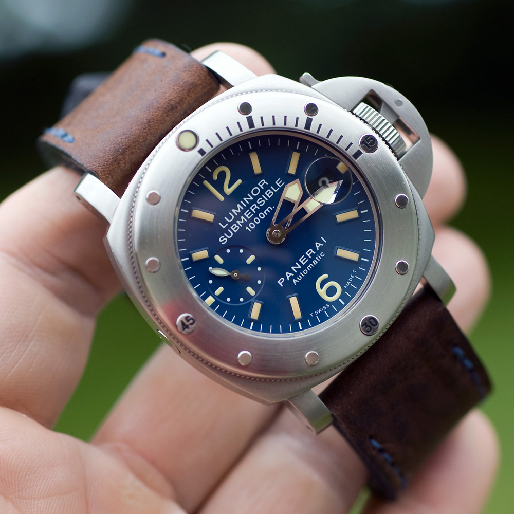 Panerai 87 on Horween Nut Brown leather with royal blue stitching. © Richard Beard
