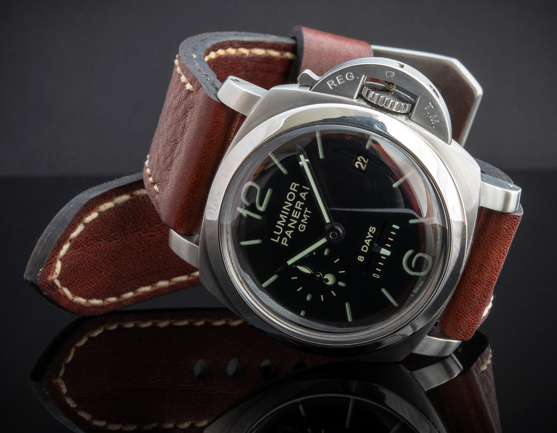 Panerai 233 on Cyclone leather with natural stitching. © Martin Tyler