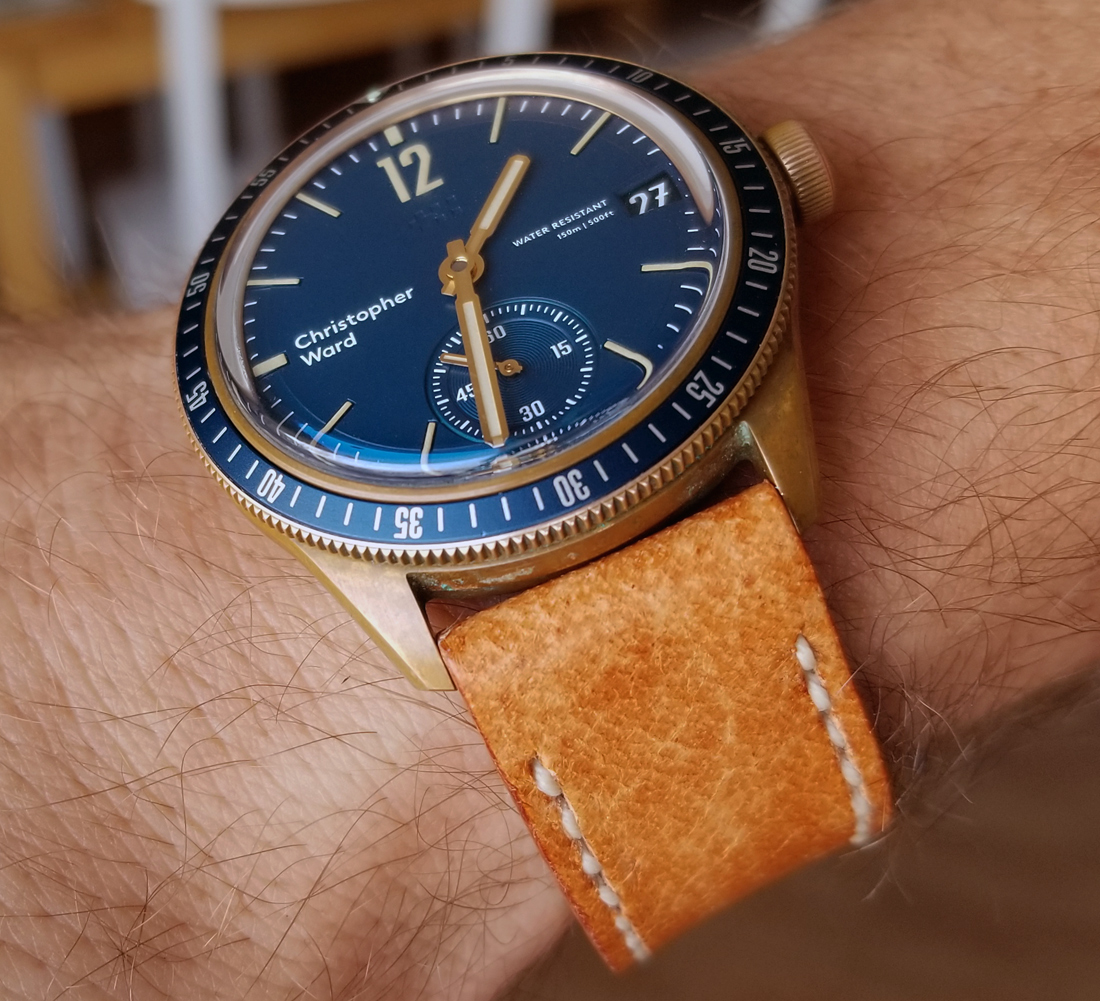 Christopher Ward C65 Trident Bronze on Vintage Stag leather with natural stitching. © Grady Washatka