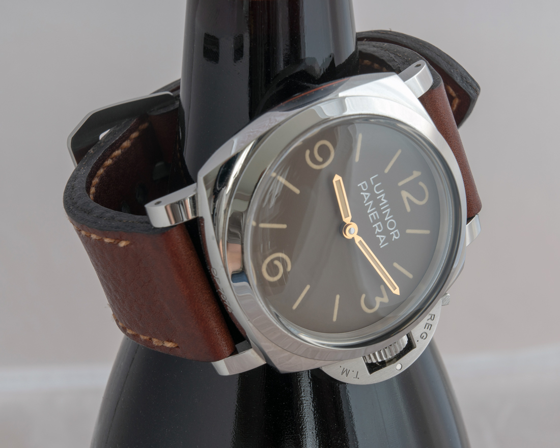 Panerai 663 on Cyclone leather with butterscotch stitching. © Martin Tyler