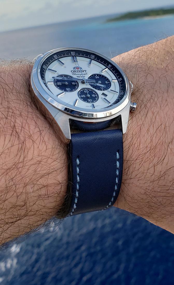 Orient Neo 70's on Lapis Blue leather with pale blue stitching. © Scott Cody