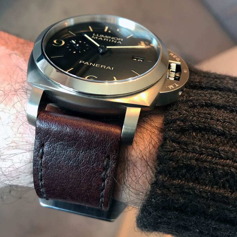Panerai 312 on Aegir leather with dark brown stitching. © Terry Wright