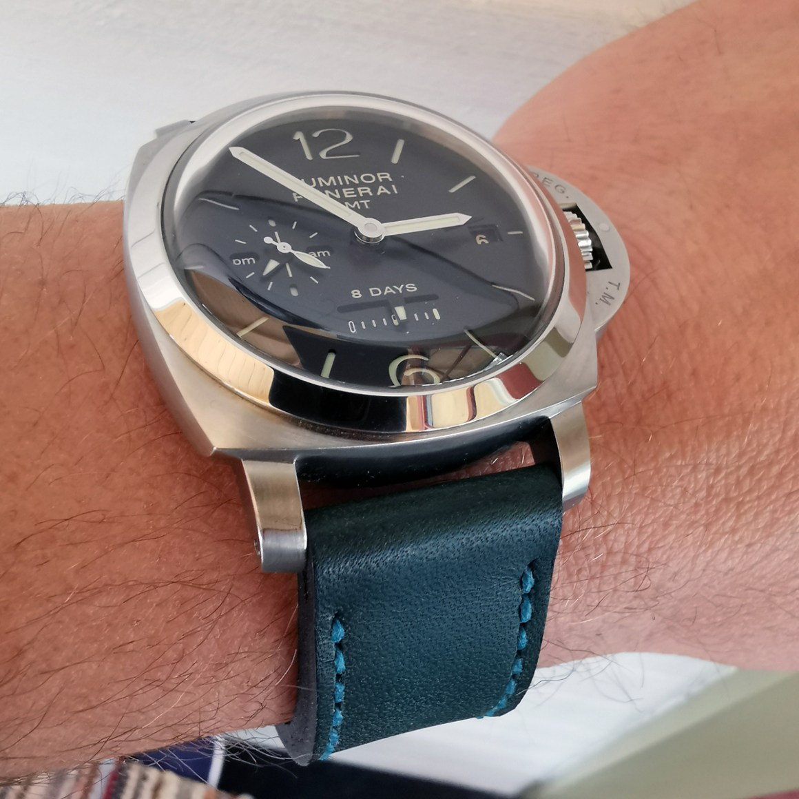 Panerai 233 on Aqua leather with teal stitching. © Peter Cassman