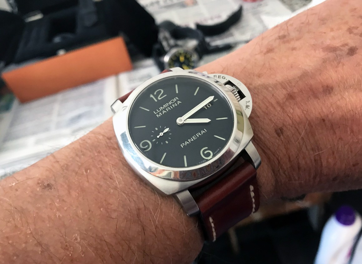 Panerai 312 on Ruby shell cordovan leather with natural stitching. © Keith Wilson