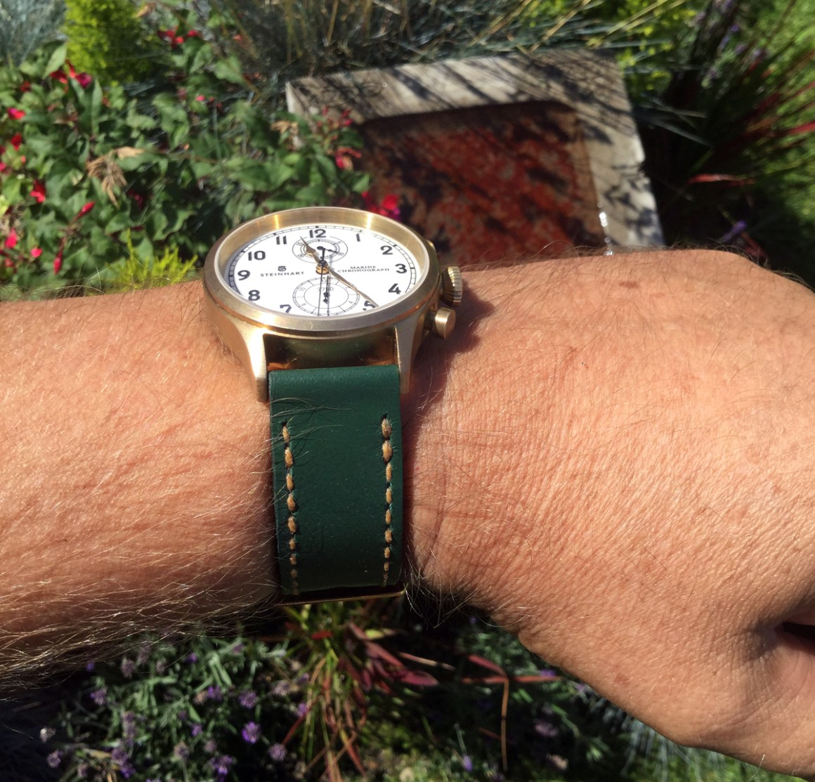 Steinhart Bronze MC on Sage leather with butterscotch stitching. © Ian Peters