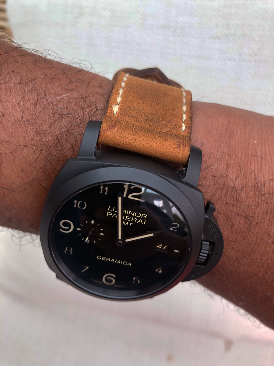 Panerai 438 on Old Timer leather with natural stitching. © Carl Foster