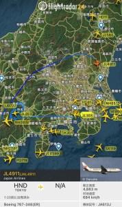 JAL初日の出・初富士フライト2021飛行ルート
