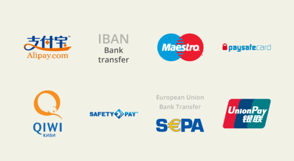 AliPay, IBAN, Maestro card, Paysafecard, Qiwi Wallet, SafetyPay, SEPA Direct Debit, UnionPay