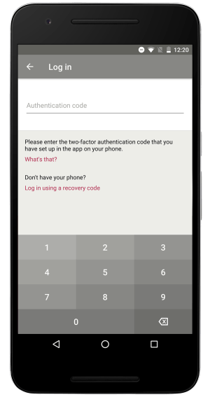 two-factor authentication on the Toshl Finance Android app