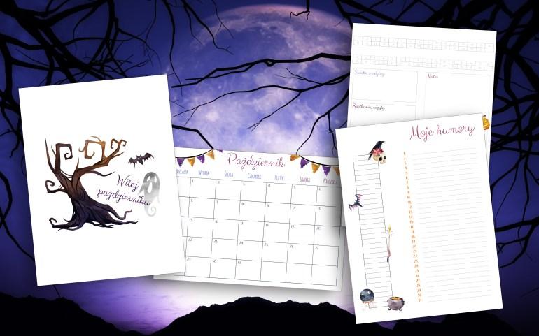 Halloweenowe wklejki do bullet journal na październik