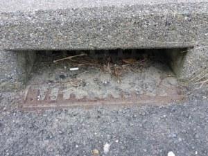 橋梁排水で地覆部目皿で詰まっている例