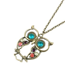 Long Owl Necklace with Colored Diamante Embellishment