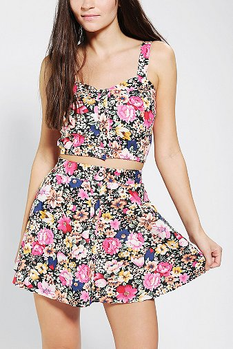 Reverse Floral Two-Piece Skirt Set