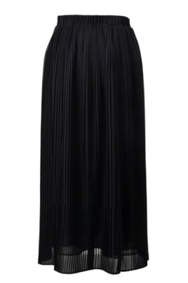 Pleated Ankle Length Black Skirt