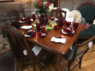 Cherry table with 6 chairs.