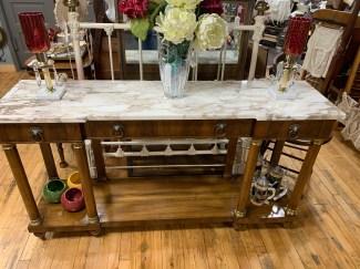 John Widdicomb Console Table w/Marble Top