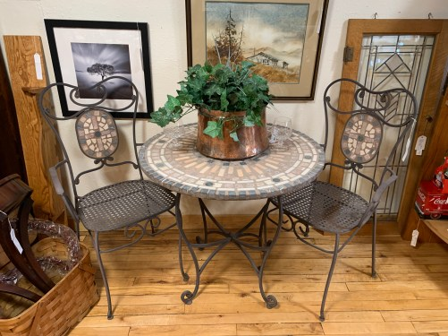 Solid Top Wrought Iron Bistro Set