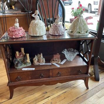 Sweet shelf with fretwork.