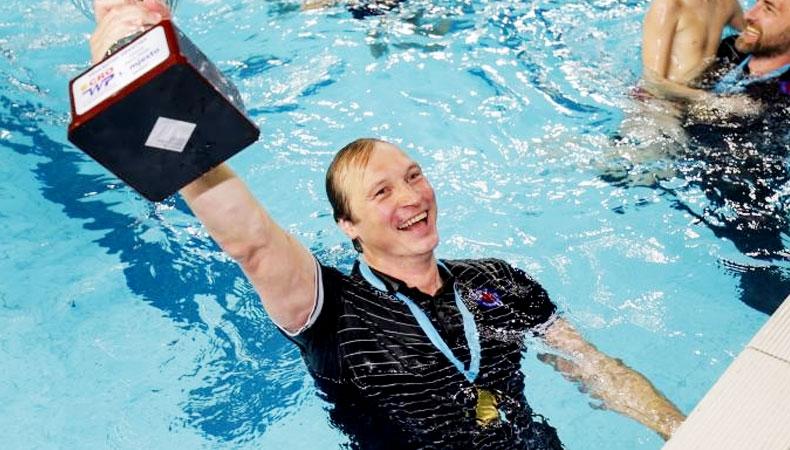 Vjekoslav Kobešćak celebrates water polo victory