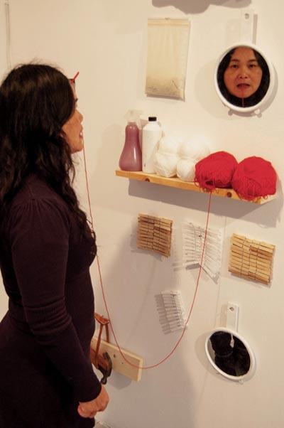 Chuyia Chia, A thread of red - tracing and mirroring, Rostrum Gallery, Malmö Sweden, 2012, photo by Joakim Stampe_web