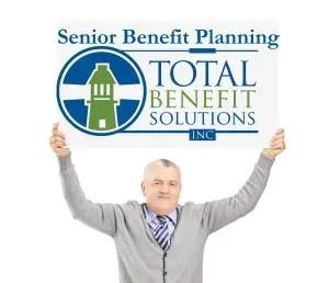 senior benefit man placard