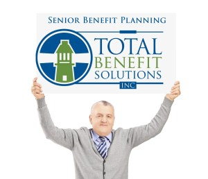 senior benefit man placard