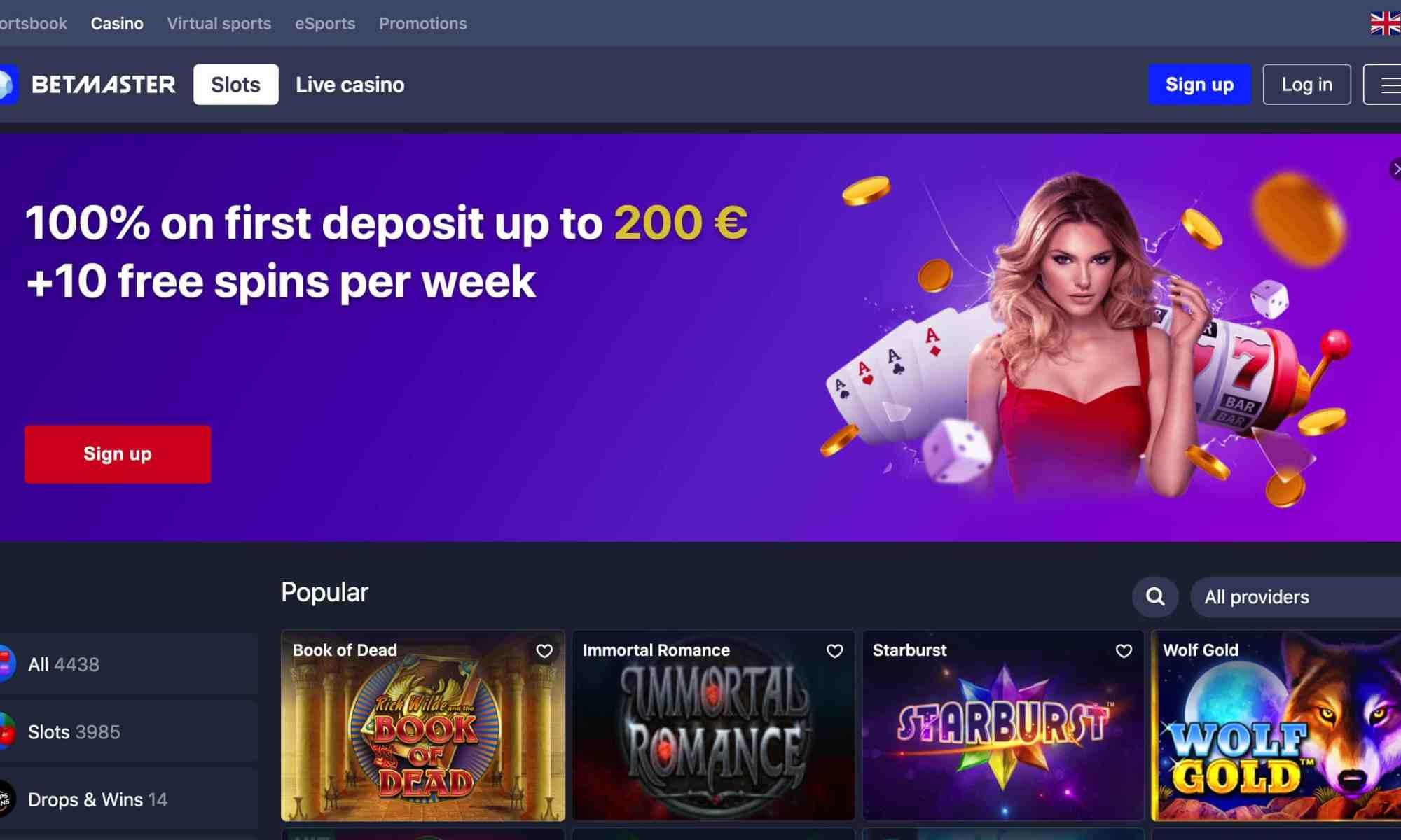 BetMaster Casino - Get 100% deposit bonus + 10 spins per week